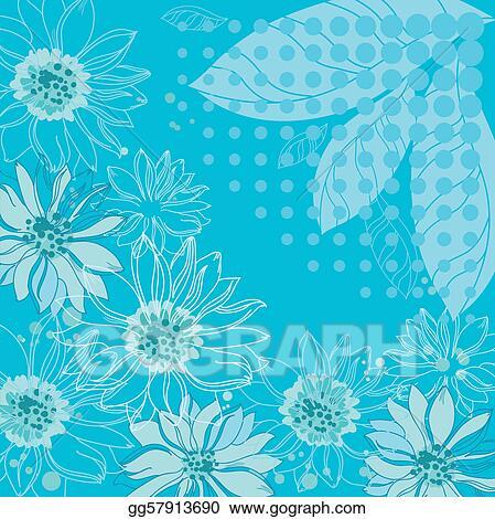Clip Art Vector - Turquoise flowers background Stock EPS gg57913690