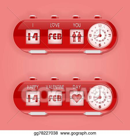 Vector Stock - Valentine day with table flap clocks and number