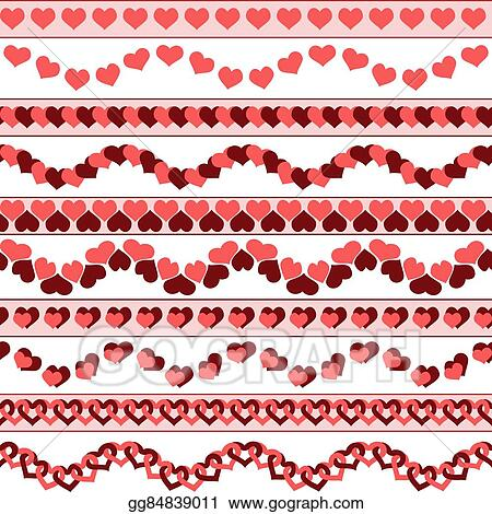 Vector Illustration - Valentine`s day borders EPS Clipart - 's day borders