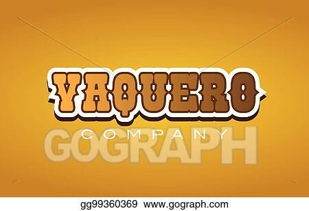 Clip Art Vector - Vaquero western style word text logo design icon