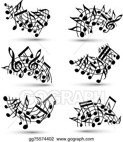 Vector Stock - Vector black jolly staves with musical notes on white