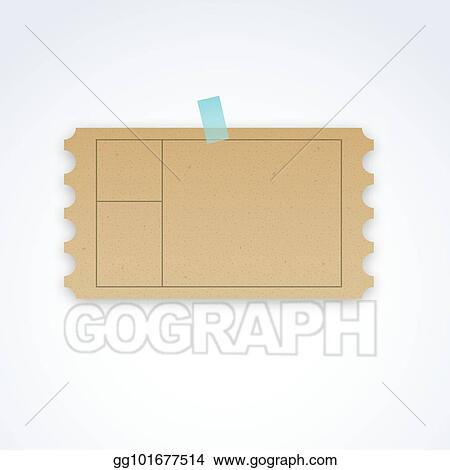 Vector Stock - Vector blank ticket template with cardboard texture