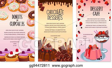 Vector Stock - Vector desserts menu template for bakery or cafe