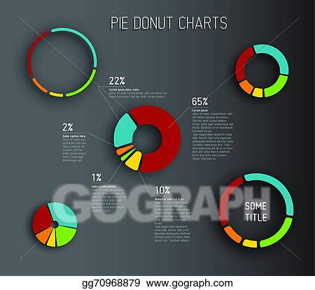 Vector Illustration - Vector donut pie chart templates Stock Clip