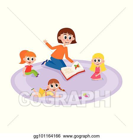 Vector Art - Vector flat cartoon children sitting around woman - cartoon children play