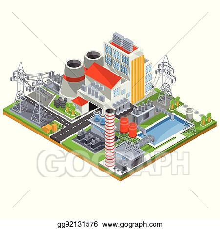 Vector Illustration - Vector isometric illustration of a nuclear