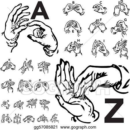 Vector Illustration - Vector set of sign language letters Stock