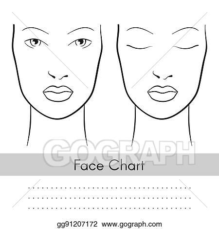 Vector Art - Vector woman face chart portrait female face with open