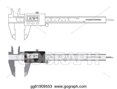 Stock Illustration - Vernier caliper digital tool vector