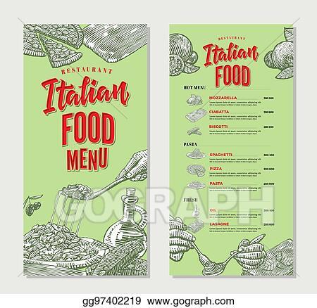 Vector Stock - Vintage italian food restaurant menu template Stock