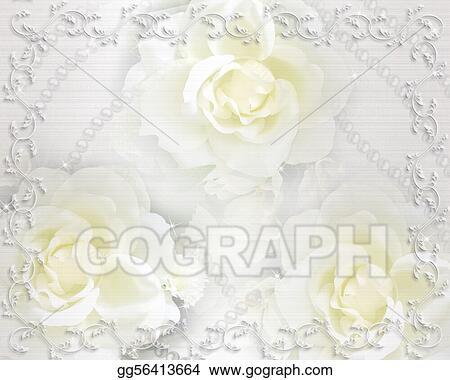 Clipart - Wedding invitation background roses Stock Illustration