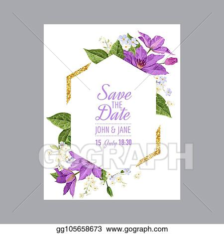 Vector Art - Wedding invitation template with clematis flowers and