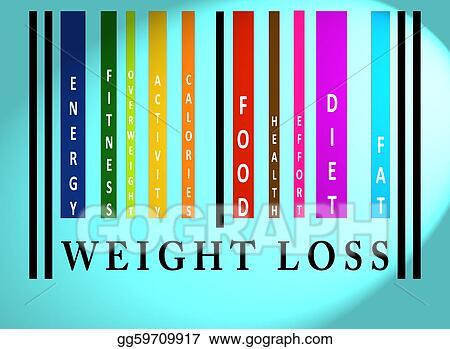 Stock Illustration - Weight loss word on colored barcode Clip Art