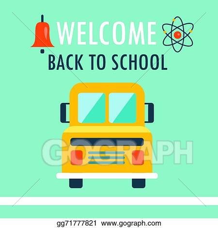 Clip Art Vector - Welcome back to school background flat design - welcome back template