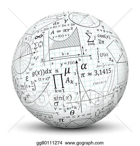 Drawings - White 3d sphere - ball with math symbol texture Stock - 3d graph paper