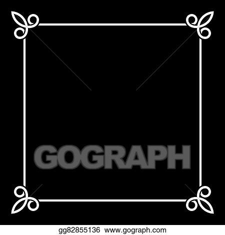 EPS Illustration - White border vintage frame on black background