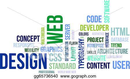 EPS Vector - Word cloud - web design Stock Clipart Illustration