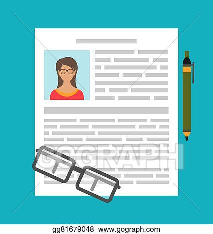 Vector Clipart - Writing a business cv resume Vector Illustration