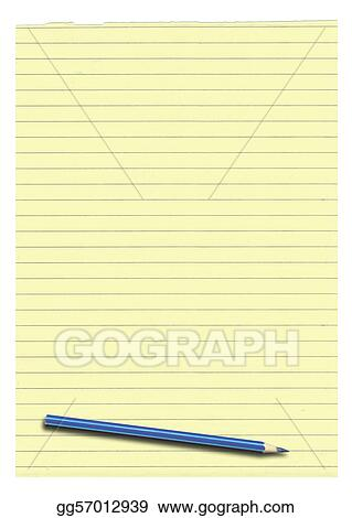 Stock Photograph - Yellow lined paper and pencil Stock Image - lined paper with picture