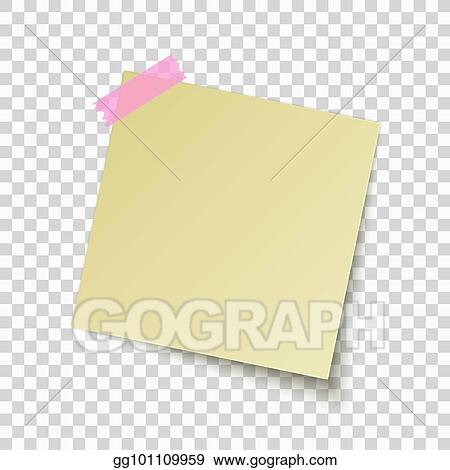 Vector Illustration - Yellow sticky note isolated on transparent