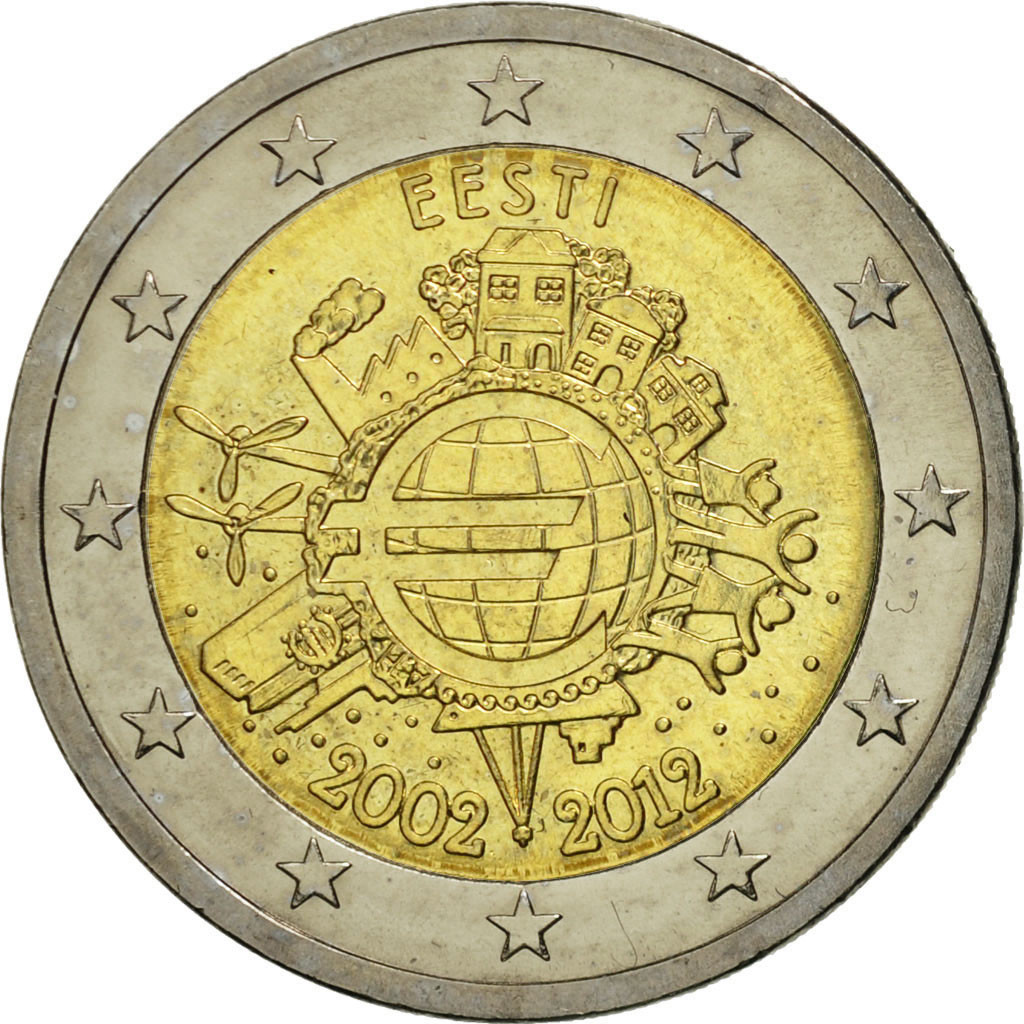 Ebay 1 Euro Details About 461205 Estonia 2 Euro 10 Years Euro 2012 Bi Metallic