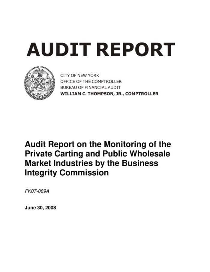 Audit Report on the Monitoring of the Private Carting and Public