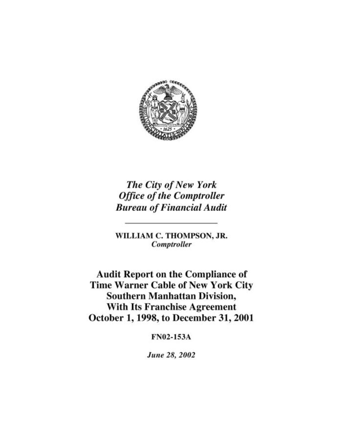 Audit Report on the Compliance of Time Warner Cable of New York City