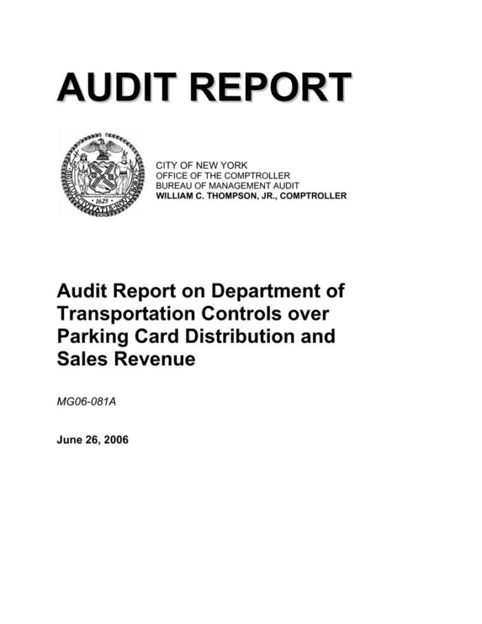Audit Report On The Department Of Transportation Controls Over