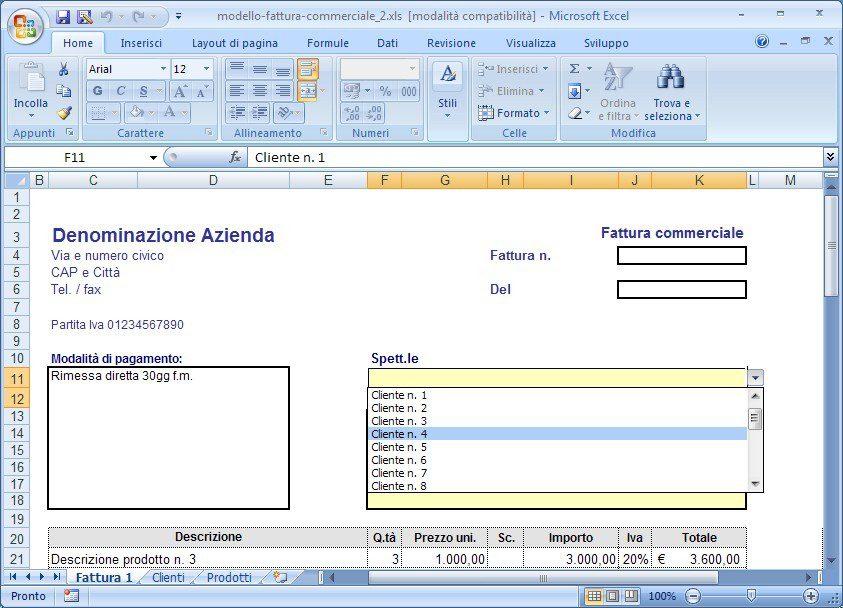 Modello di Fattura per Microsoft Excel