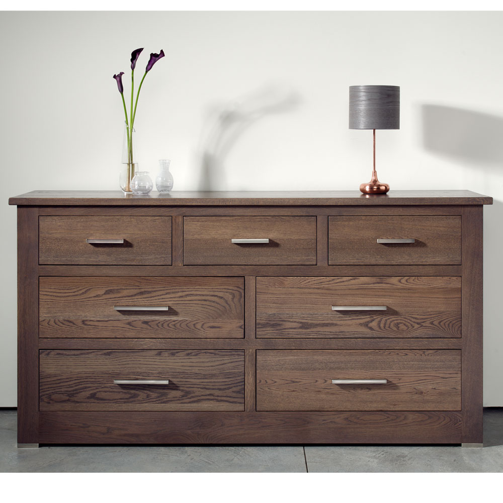 Quercus Solid Oak 4 3 Extra Wide Chest Of Drawers Con Tempo Furniture