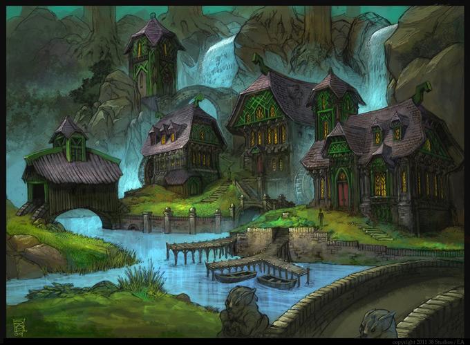 Dark Cozy Girl City Wallpaper Kingdoms Of Amalur Reckoning Concept Art By Sean Andrew