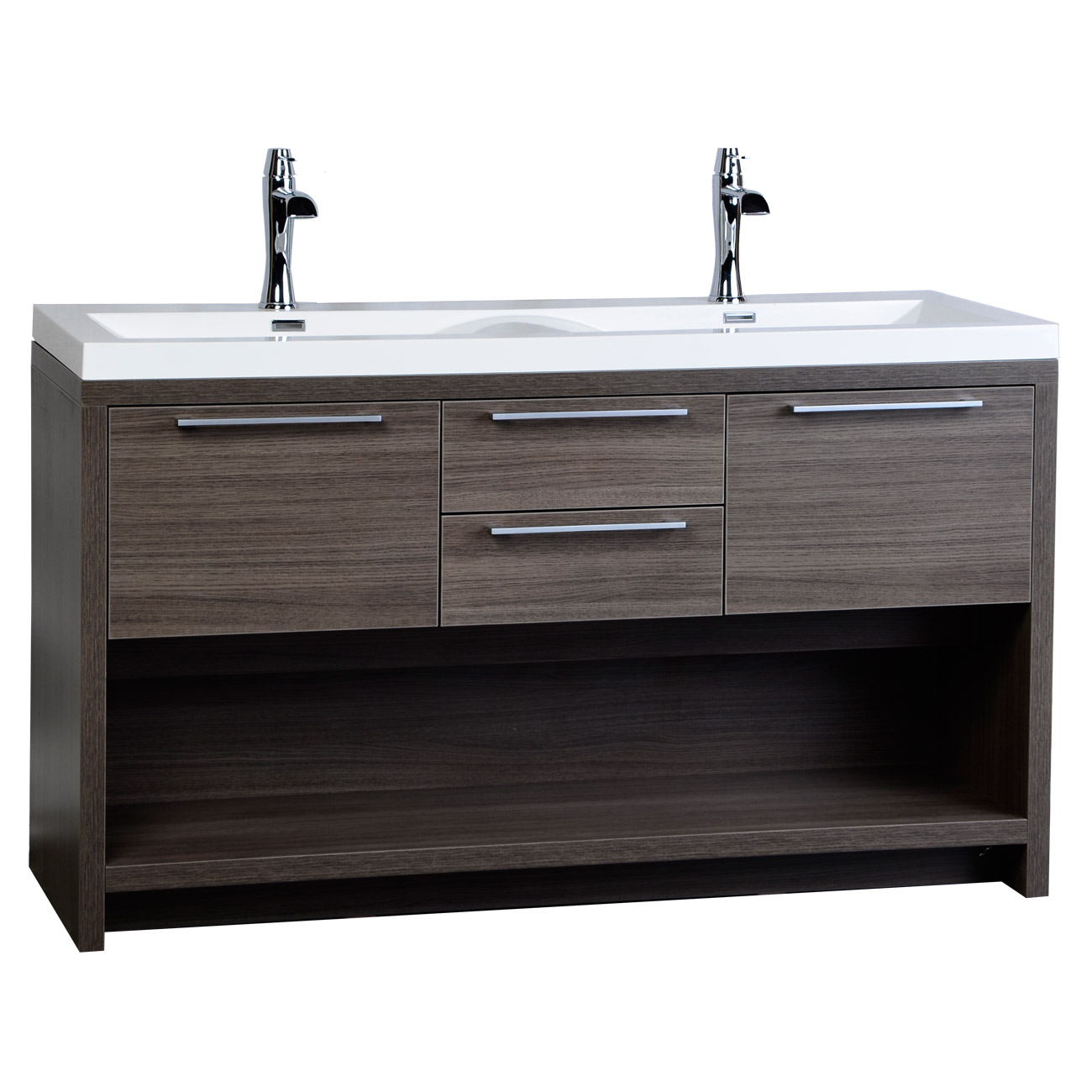 Two Sink Vanities 57 Quot Contemporary Double Vanity Set With Wavy Sink Grey Oak