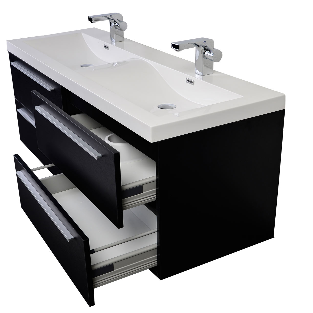 Two Sink Vanities 57 Inch Modern Double Sink Vanity Set With Wavy Sinks