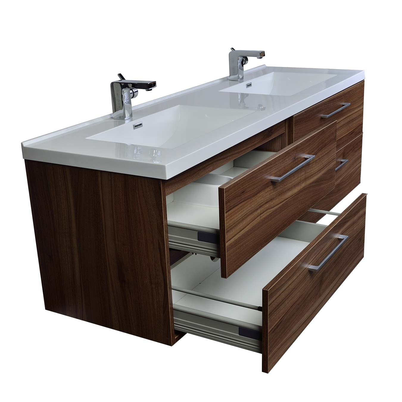 Moderner Schminktisch Camino 67 In Modern Double Vanity Set Wall Mount In Walnut