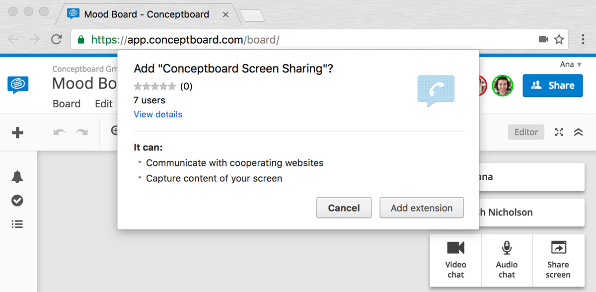 New audio chat and screen sharing for better remote meetings