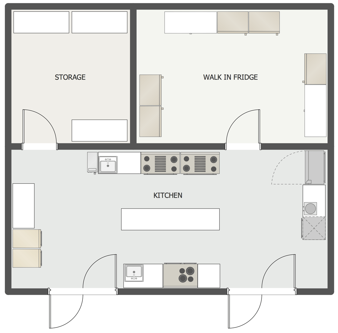 Kitchen Plans Cafe And Restaurant Floor Plan Solution Conceptdraw