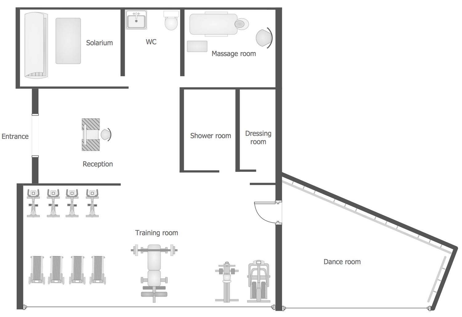 Wc Plan Gym And Spa Area Plans Solution Conceptdraw
