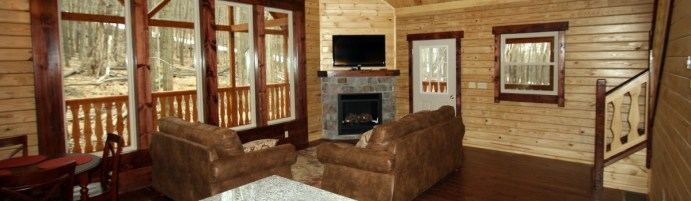 log cabin living interior with sitting area and fireplace