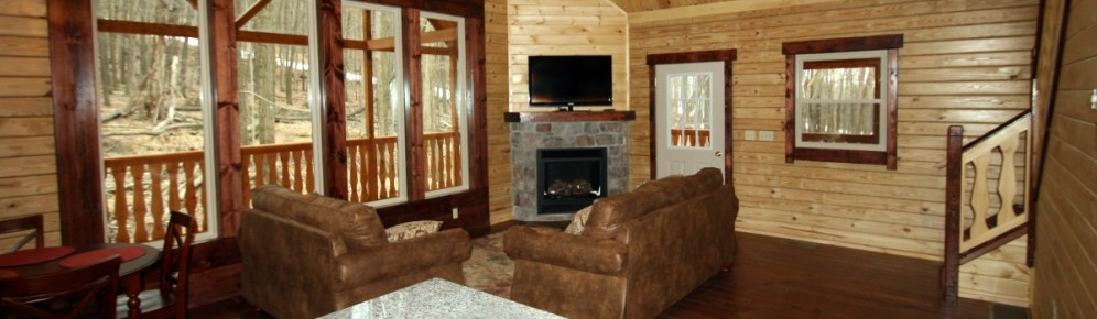 log cabin chalet with fireplace