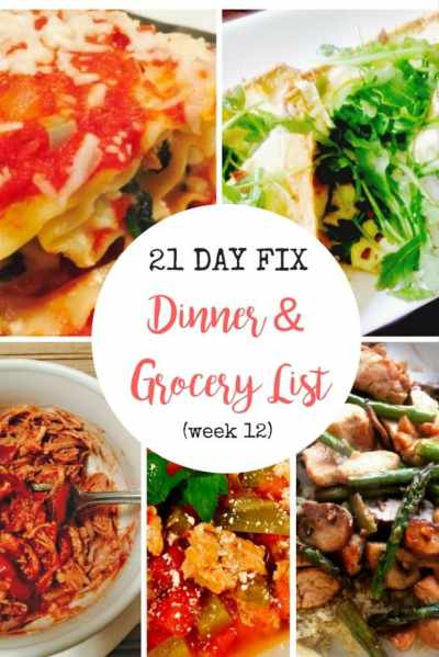 21 Day Fix Meal Plan & Grocery List {12} Snow Day Favorites - Confessions of a Fit Foodie