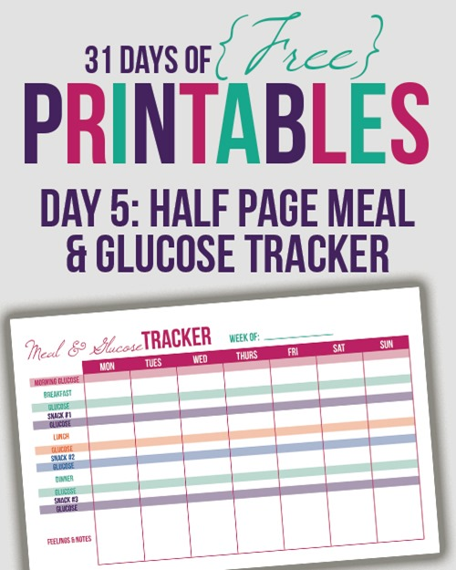 Meal and Glucose Tracker Half Letter (Day 5) - I Heart Planners - glucose log sheets printable
