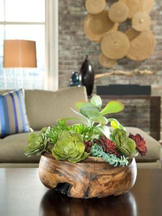 Succulent Decor via HGTV