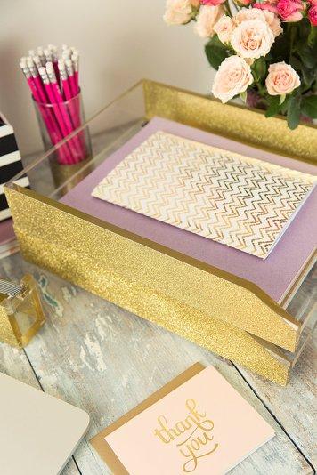 Gold Glitter Desk Tray