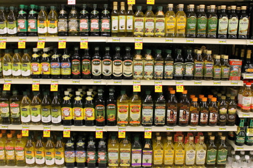 Olive Oil Aisle in Grocery Store