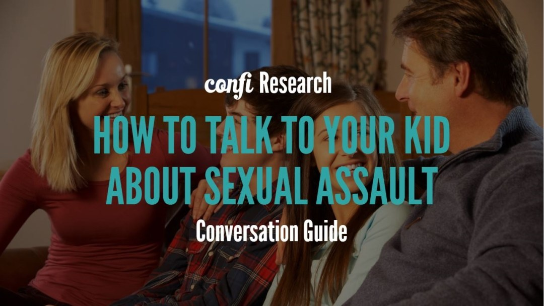 parents talking to kids on couch with text Sexual Assault Conversation Guide