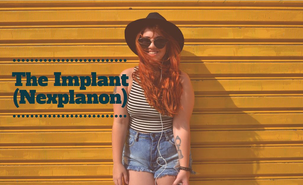 red head girl in front of yellow background with The Implant text