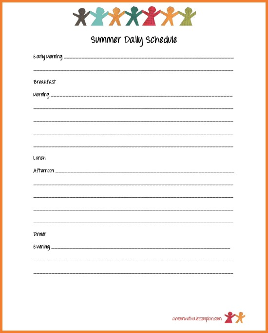 Summer Schedule for Kids and Summer Goal Sheet (with free printables)
