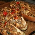 VeganMoFo: Vegetarian Stuffed Eggplant