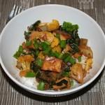 Stir Fried Bok Choy and Orange Cauliflower with Tofu