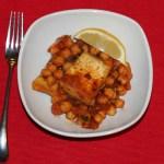 Pan-Seared Tofu with Harissa Chickpeas